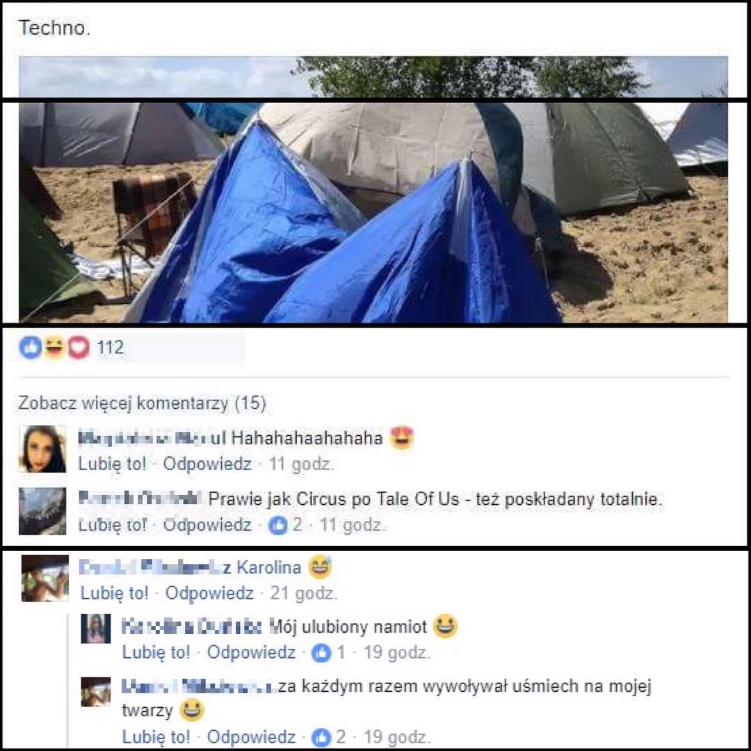 """Krótka opowieść o tym, jak mój namiot został memem. Jakiś typ zrobił fotkę, wrzucił do netu i teraz zbiera lajki cudzym kosztem. :D Pozwoliłem sobie skomentować. (""""Przyznaję się, to mój namiot! :D Jak widać, instrukcje składania namiotu potraktowałem bardziej jako rekomendację niż konieczne do wdrożenia wytyczne. Właśnie tak rodzi się awangarda. Powiem Wam, że rezultat był do przewidzenia, bo po złożeniu okazało się, że zostało jeszcze pełno niewykorzystanych części. Ale mam bardzo mocny argument na swoją obronę: nie chciało mi się już z tym pierdolić. :D Na pocieszenie i dla dodatkowych punktów atencji, przyozdobiłem rezydencję lampkami choinkowymi. Za punkt honoru obrałem niemodyfikowanie oryginalnej rezydencji. O dziwo, podtrzymywana siłą woli przetrwała całe Audio. Jestem przekonany, że za to, iż rzecz nie jebła, należy się doktorat honoris causa z inżynierii. Na koniec pragnę podkreślić, iż zawsze wychodzę z założenia, że jak coś ma jebnąć, to jebnie, a skoro to nie jebło, to znaczy, że tak miało być i taka jest wola kosmosu. Warto żyć w zgodzie z kosmosem. Propozycje współpracy, datki na nowy namiot, zaproszenia na drinki oraz oferty matrymonialne przyjmuję w komentarzach i wiadomościach prywatnych!"""")"""